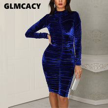 Load image into Gallery viewer, Women Elegant Velvet Turtleneck Scrunched Bodycon Dress Sparkly Sheath Vintage Night Club Party Cocktail Midi Dress