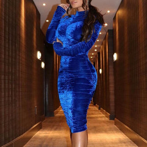 Women Elegant Velvet Turtleneck Scrunched Bodycon Dress Sparkly Sheath Vintage Night Club Party Cocktail Midi Dress