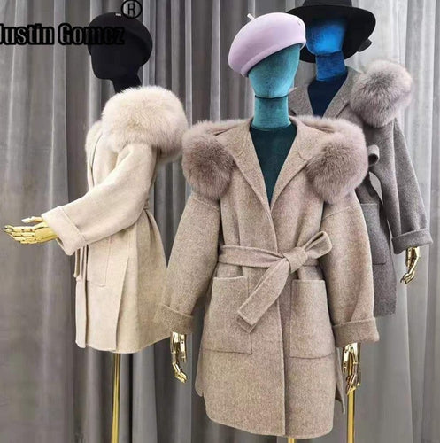 Highest Quality Long Double-Faced Wool Coat with Real Fox Fur Korean Style Thicken Autumn Coat Women Winter Outwear Women Coat