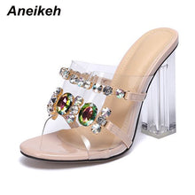 Load image into Gallery viewer, Aneikeh Summer Fashion Crystal Diamond Slides Clear PVC Transparent Slippers Women Shoes Peep Toe High Heels Mules Dress Pumps