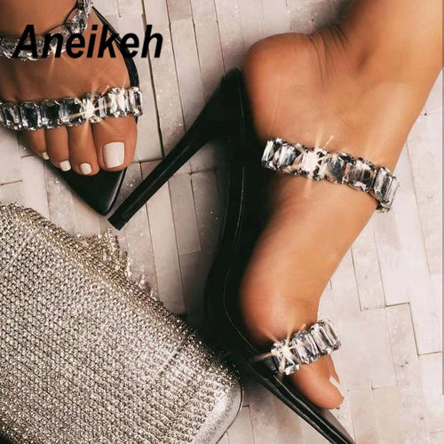 Aneikeh 2020 PVC Fashion Shoes Woman Sandals Beads Rhinestone Sequins pointed end Peep Toe Party Thin High Heels Sandals Ladies