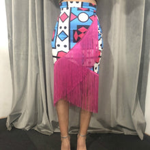 Load image into Gallery viewer, High Waist Printed Tassel Skirts Irregular African Fringe Modest Elastic Bodycon Women Spring Summer Elegant Retro Jupes Falads