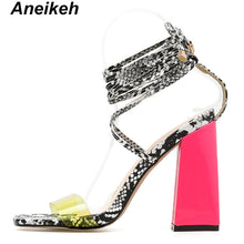 Load image into Gallery viewer, 2019 Summer PVC Gladiator Sandals Women Open Toe Ankle Strap Lace Up High Heels Pumps Fashion Party Dress Women's Shoes