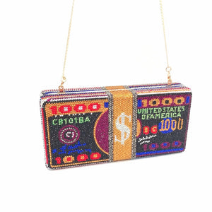 Bee In Fly Luxury Hand Inlaid Diamond Evening Bag Dollars Clutch Women'S Wedding Zero Wallet  Stack of Cash Funny Money Bag