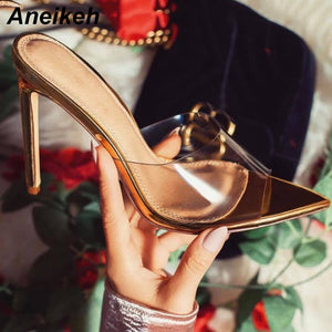 2020 Classic PVC Summer High Heel Slippers Open Toe Sexy Transparent Thin High Heels Solid Pointed Toe Gold Size 35-40