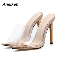 Load image into Gallery viewer, 2020 Classic PVC Summer High Heel Slippers Open Toe Sexy Transparent Thin High Heels Solid Pointed Toe Gold Size 35-40