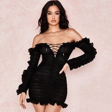 Load image into Gallery viewer, 2019 new summer sexy bodycon women dress slash neck draped black mini dress vestidos elegant celebrity party dress black fashion