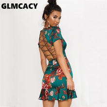 Load image into Gallery viewer, Women Green Criss Cross Back Frill Hem Shift Dress Streetwear Sheath Flora Print Short Sleeve Above Knee Mini Summer Party Dress