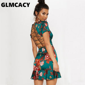 Women Green Criss Cross Back Frill Hem Shift Dress Streetwear Sheath Flora Print Short Sleeve Above Knee Mini Summer Party Dress