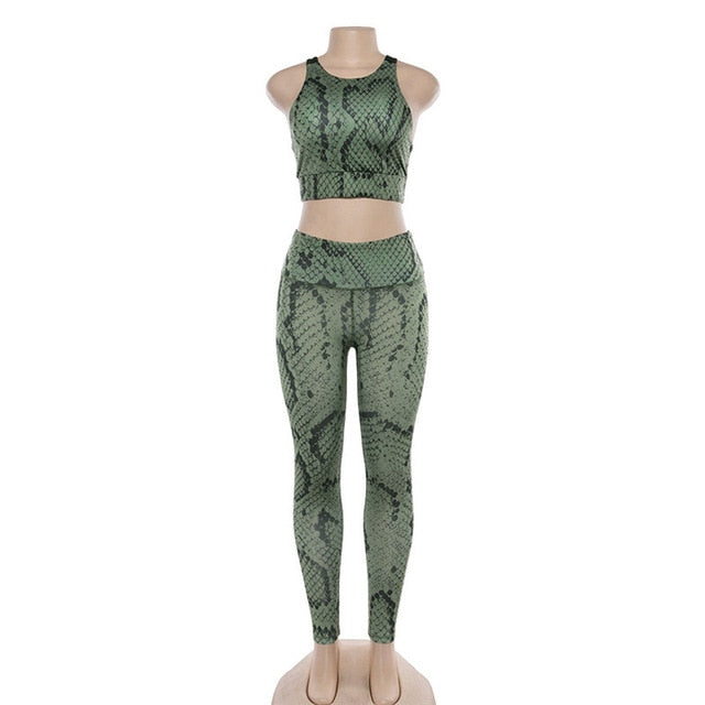 IWUPARTY 2 Piece Snake Print Yoga Set Women Crisscross Back Sportwear Gym Clothing Fitness Leggings Workout Sports Suit Female