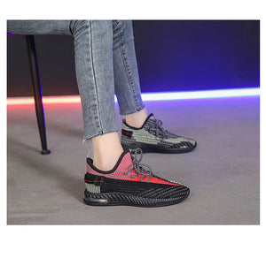 Spring new women's shoes, wild sports shoes, women's elastic fabric + solid mesh women's shoes, women's casual sports shoes