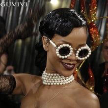 Load image into Gallery viewer, Pearl Round Sunglasses Women Small Frame Oval Vintage Sunglasses Luxury Brand Designer Men Retro Sunglasses Rihanna Steampunk