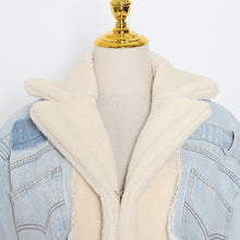Load image into Gallery viewer, Lambswool Denim Jacket For Women Lapel Long Sleeve Tassel Casual Coat Female 2020 Winter Fashion New Tide
