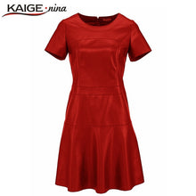 Load image into Gallery viewer, Casual Mini Dress Short Sleeve Sexy Autumn Vestidos PU Dress 2153
