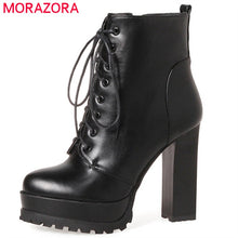 Load image into Gallery viewer, MORAZORA Fashion shoes woman platform boots spring autumn ankle boots for women top quality high heels shoes big size 34-43
