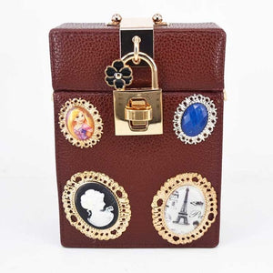 Bag Lock Box Clutch Bag Ladies Boutique Bags Packet Women Mini Box Handbags