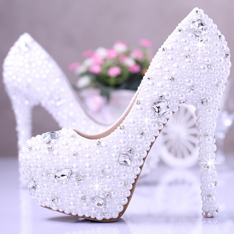 White pearl wedding shoes crystal diamond bridal shoes w platform shoes wedding photos party shoes for girl