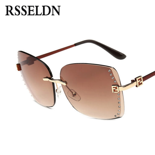 RSSELDN New Big Frame Women Sunglasses Fashion high Quality Gradient Women Rimless Sun glasses Female Brand 2019 Mirror UV400
