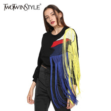 Load image into Gallery viewer, [TWOTWINSTYLE] 2018 Autumn Women Hoodies Sweatshirt Streetwear Rainbow Tassels Stitching Mesh Thickened Fleece Long Sleeves New