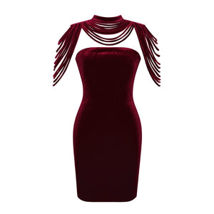 Karlofea Fashion Women Sleeveless Mini Dress Vintage Outfit Casual Dress Removable Collar Stretch Velvet Strapless Bodycon Dress