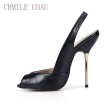 Load image into Gallery viewer, CHMILE CHAU Sexy Women Dress Party Pumps Peep Toe Stiletto Iron High Heel Slingback Ladies Shoe Escarpins Talons Femmes 3845-g11