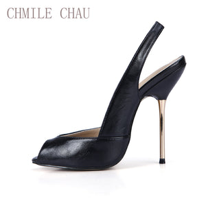 CHMILE CHAU Sexy Women Dress Party Pumps Peep Toe Stiletto Iron High Heel Slingback Ladies Shoe Escarpins Talons Femmes 3845-g11