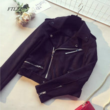 Load image into Gallery viewer, Ftlzz Spring Autumn Women Faux Suede Leather Jacket Vintage Short Black Soft Motorcycle Jackets Fashion Basic Coats Female