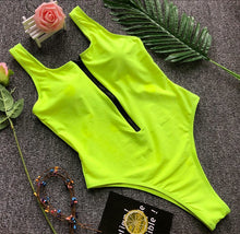 Load image into Gallery viewer, solid zipper piece swimsuit sexy black/green bodysuit female bathing suit women maio feminino praia	biquini one piece swimwear