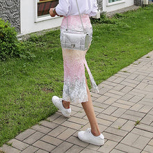 Load image into Gallery viewer, RealShe 2018 Fashion Autumn Woman Skirt Lady Sequins Slit Gradient Pencil Skirts Women Plus Size Sexy Bodycon Midi Skirt