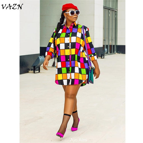 colorful shirt dress