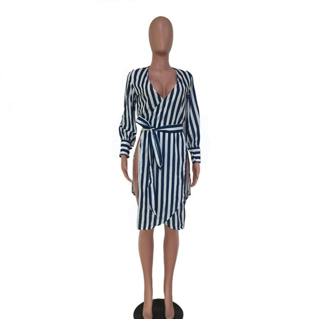 HAOYUAN Sexy Striped Shirt Dress With Sashes Side High Slit Red Women Clothes Summer Sundress V-Neck Long Sleeve Casual Dresses
