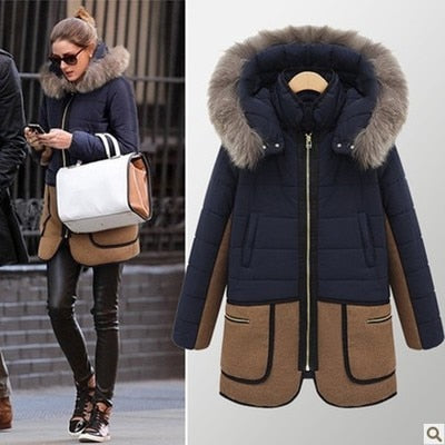 Winter Jacket Women The New Winter 2018 Women 'S Fur Collar Pocket Long Section Down Jacket Coat Patchwork Color Coat
