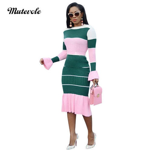 Women Long Flare Sleeve Knitted Dress Casual Bodycon O Neck Midi Striped Dress Sexy Slim Night Club Mermaid Dresses