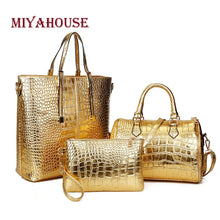 Load image into Gallery viewer, Miyahouse 3Pcs/Set Large Capacity Shoulder Bag For Female Crocodile Pattern Crossboby Bag Lady Gold Silver Women Tote Handbag