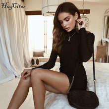 Load image into Gallery viewer, Hugcitar long sleeve high neck high waist bodycon sexy mini dress 2018 autumn winter women fashion party elegant dresses