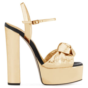 Gold Patent Leather Platforms for Women Knotted High Heel Sandals Sliver Supper High Dress Heels Ladies Chunky Heel Summer Shoes