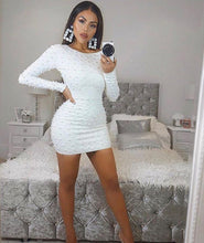 Load image into Gallery viewer, Winter Fashion Sexy Long Sleeve Beading White Bandage Dress 2018 Knitted Elastic Party Dress
