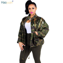 Load image into Gallery viewer, HAOYUAN Camouflage Sequin Jacket Outwear Women Clothes Full Sleeve Plus Size Autumn Streetwear Army Green Camo Long Denim Coats