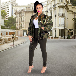 HAOYUAN Camouflage Sequin Jacket Outwear Women Clothes Full Sleeve Plus Size Autumn Streetwear Army Green Camo Long Denim Coats