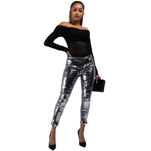 Fashion Nightclub Sequin Pencil Pants 2018 Solid Silver Women Bling Skinny Calf-length Trousers Party Leggings Female Streetwear