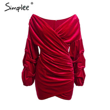 Load image into Gallery viewer, Simplee Christmas sexy off shoulder cross velvet women dress plus size Vintage puff sleeve mini dress Elegant autumn dress