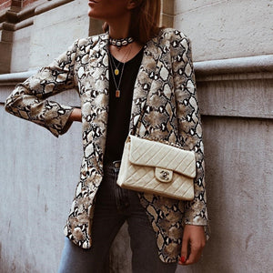 2019 Women England Style Snake Print Blazer Pockets Notched Collar Long Sleeve Coat Female Outerwear