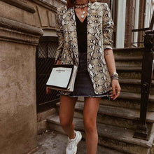 Load image into Gallery viewer, 2019 Women England Style Snake Print Blazer Pockets Notched Collar Long Sleeve Coat Female Outerwear