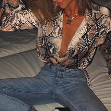 Load image into Gallery viewer, 2019 Spring Women Fashion Elegant Boho Deep V Neck Alluring Shirt Eye-catching Snakeskin Print Plunge Long Sleeve Blouse