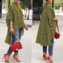 Load image into Gallery viewer, Plus Size Summer Women Elegant Office Workwear Blouse 2019 Female Striped Print Top Batwing Half Sleeve Dip Hem Loose Long Shirt