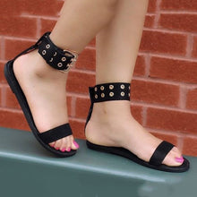 Load image into Gallery viewer, Women flats sandals gladiator summer transparent open toe jelly shoes ladies vintage roman buckle strap beach sandals big size