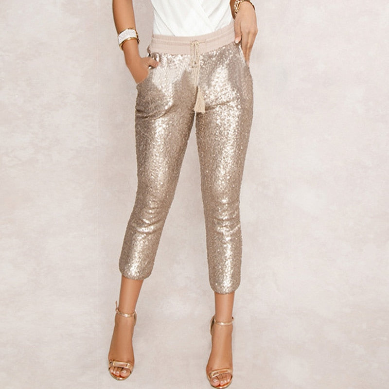 Women Drawstring Waist Bling Party Nightclub Calf-length Trousers