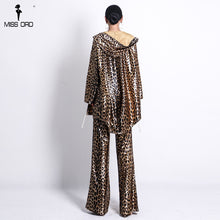 Load image into Gallery viewer, Missord 2019 Wom Hood Leopard  Two Pcs Set coat and pants Elegant  Party Jumpsuit     FT18710