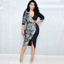 Load image into Gallery viewer, Women Deep V Neck Sequin Patchwork Pencil Dress Sheath Bodycon Belted Sexy Night Out Club  Party Midi Dress