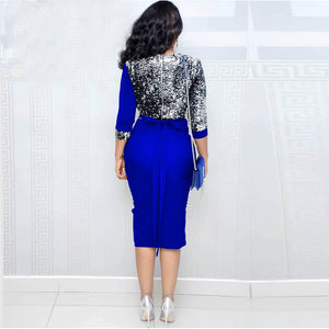 Women Deep V Neck Sequin Patchwork Pencil Dress Sheath Bodycon Belted Sexy Night Out Club  Party Midi Dress